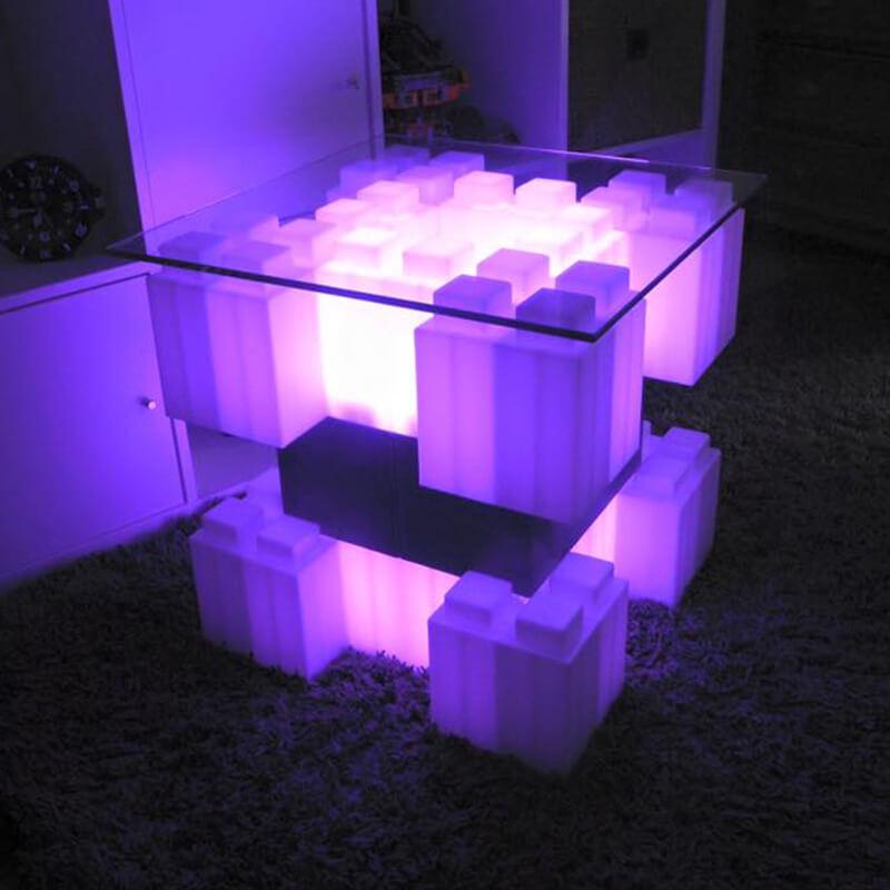 EverBlock stolić s LED rasvjetom i staklenom pločom